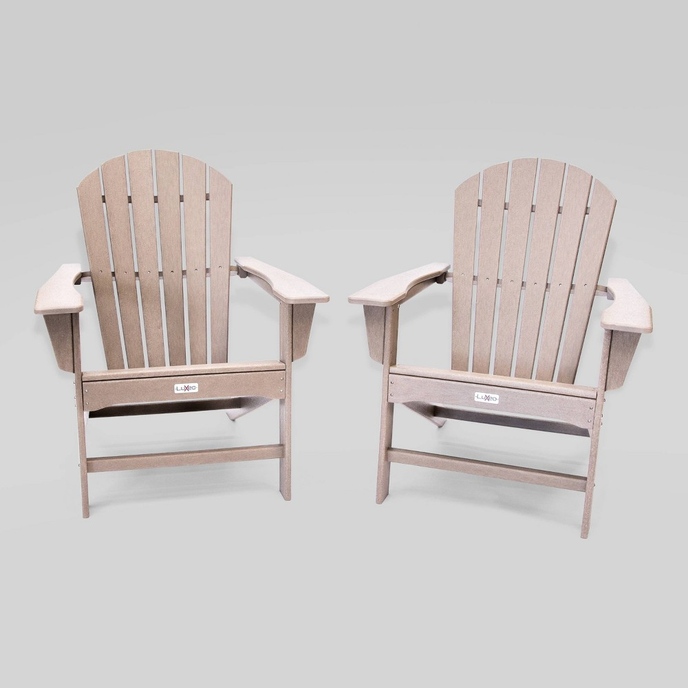 Image of 2pk Hampton Weather Wood Patio Adirondack Chair- LuXeo