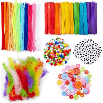 Bright Creations 600 Pcs Set Arts and Crafts Supplies Kit for Kids, Pipe Cleaners, Feathers, Poms, Googly Eyes
