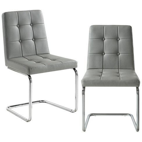 Jonathan Grey Leather Dining Chair - Set of 2 - Tufted - Chrome Frame in Chrome - Posh Living - image 1 of 3