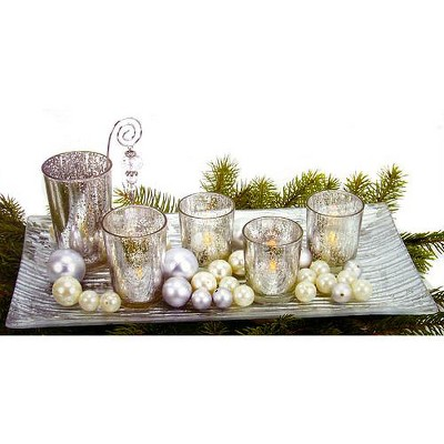 "Northlight 9-Piece Silvered Glass Christmas Votive Candle ""Garden"" Set"