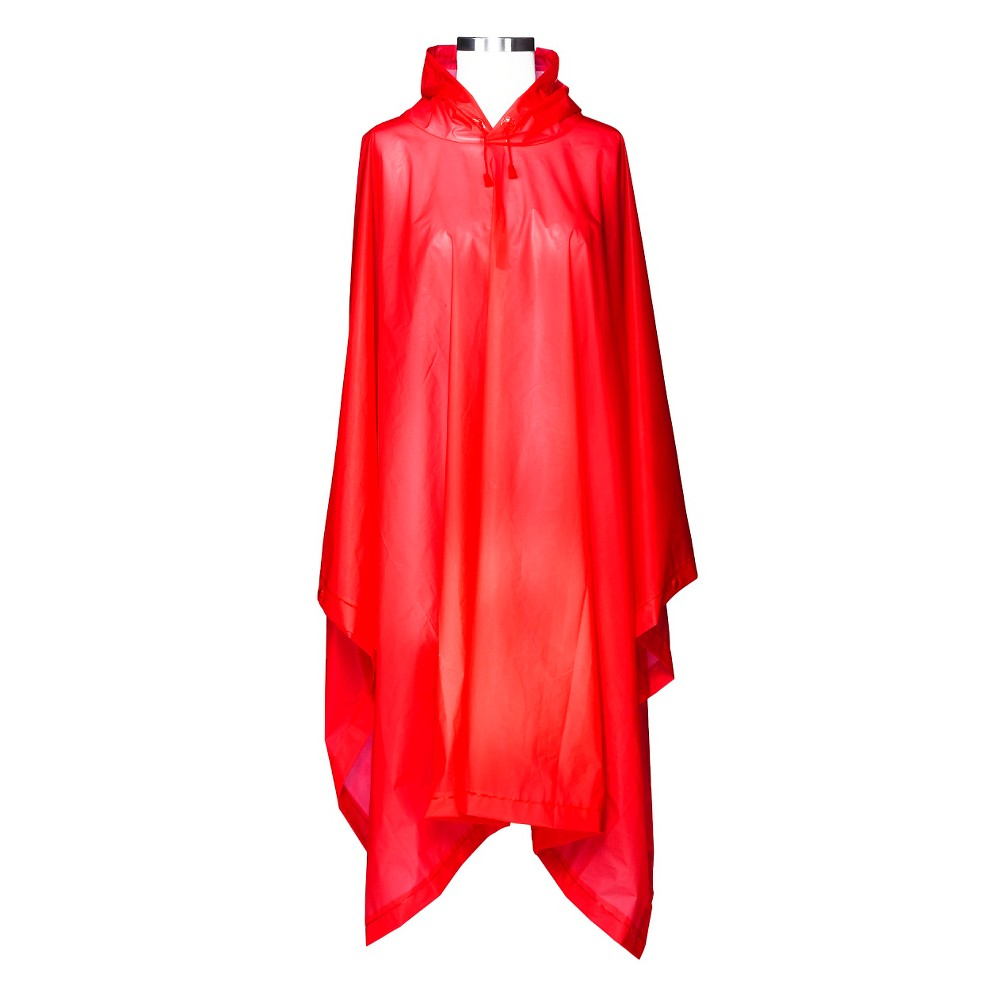 Shedrain Hooded Rain Ponchos Red