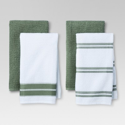 4pk Green Stripe Kitchen Towel - Threshold™