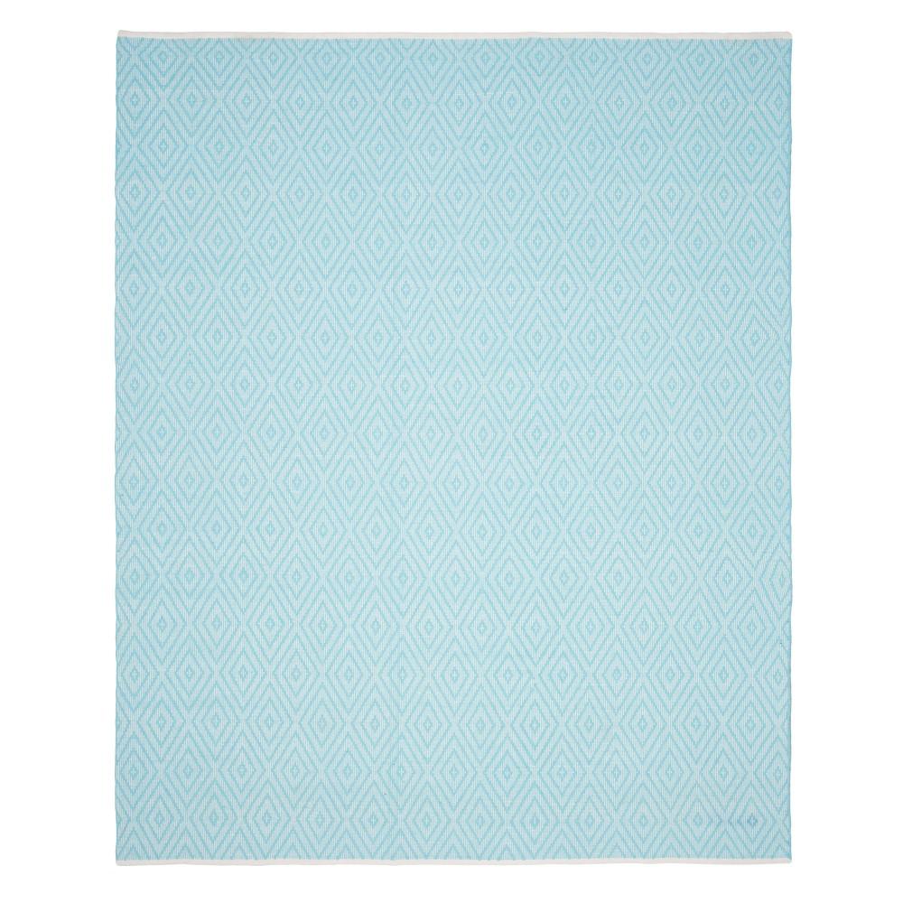 Geometric Woven Area Rug Turquoise/Ivory