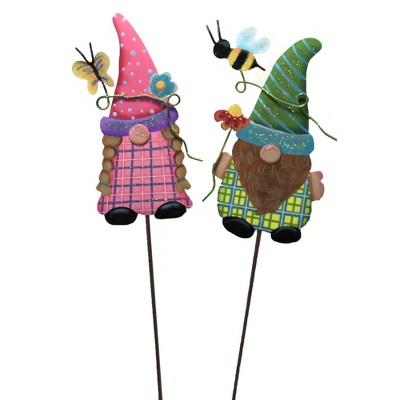 "Home & Garden 28.0"" Garden Gnome Kids Set/2 Bee Butterfly Round Top Collection  -  Decorative Garden Stakes"