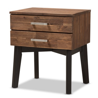 Selena Midcentury Modern Wood 2 Drawer Nightstand Brown - Baxton Studio