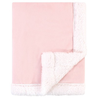 Hudson Baby Unisex Baby Plush Blanket with Sherpa Back - Light Pink White One Size