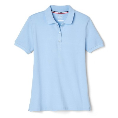 French Toast Young Womans' Uniform Short Sleeve Pique Polo Shirt - Light Blue
