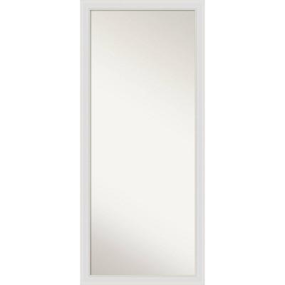 """28"""" x 64"""" Flair Soft Framed Full Length Floor/Leaner Mirror White - Amanti Art"""