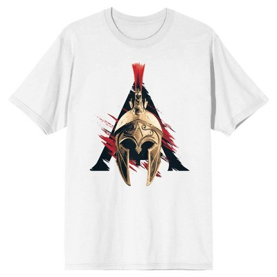 Assassin's Creed Spartan Helmet with Red Slash Men's White Graphic Tee