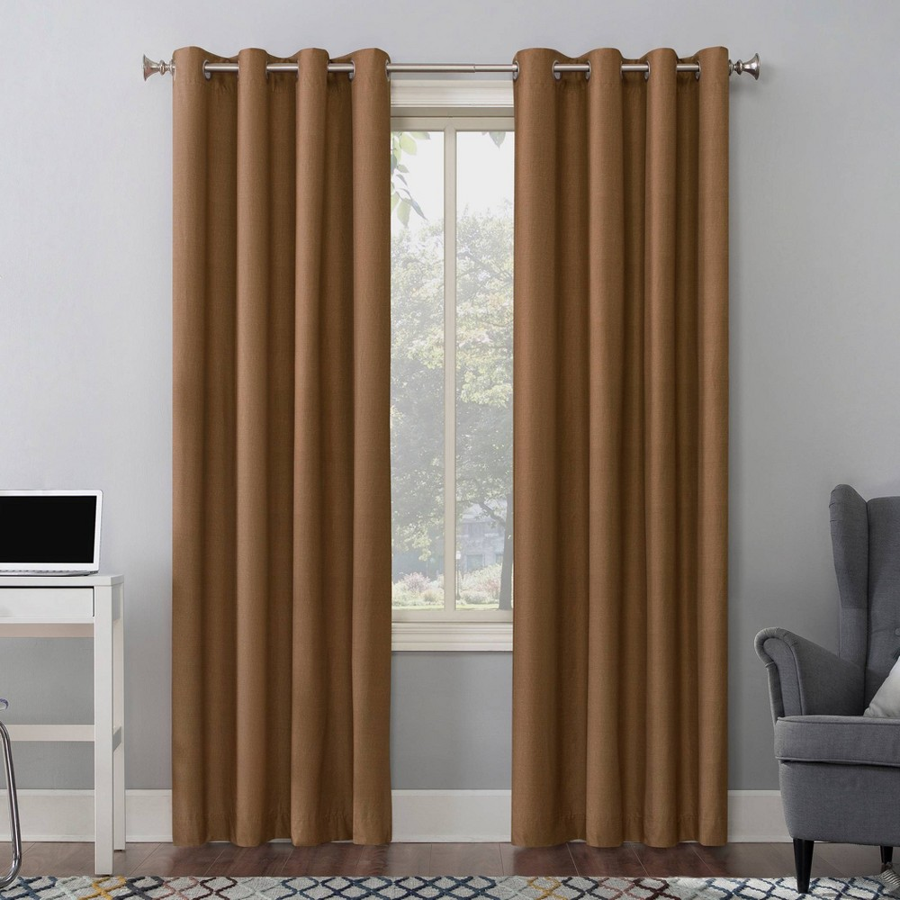 84 34 X50 34 Duran Thermal Insulated 100 Blackout Grommet Top Curtain Panel Brown Sun Zero