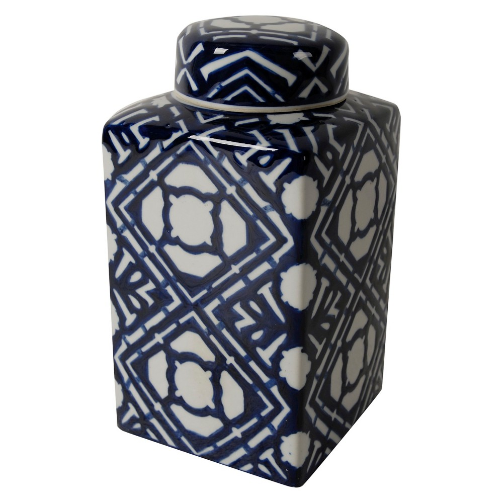 Image of Valora Blue and White Square Lidded Jar - A&B Home