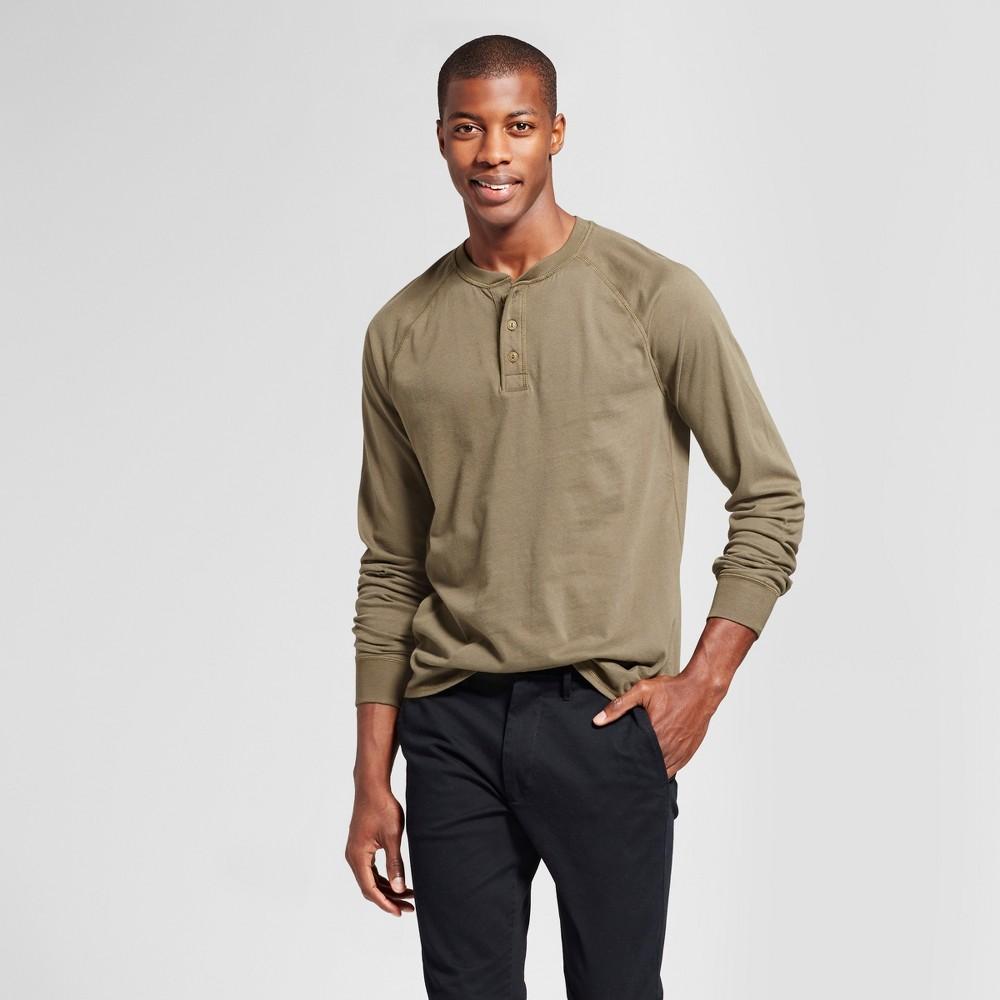 Men's Standard Fit Long Sleeve Henley T-Shirt - Goodfellow & Co Olive (Green) XL