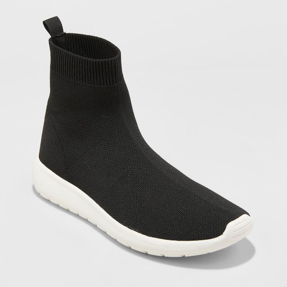 Women's Randi High Sock Sneakers - A New Day Black 7.5