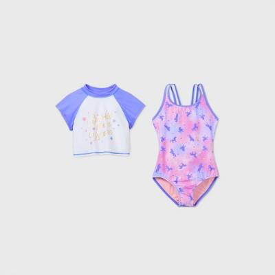 Girls' Short Sleeve Unicorn Print 2pc Swimsuit Set - Cat & Jack™ Violet