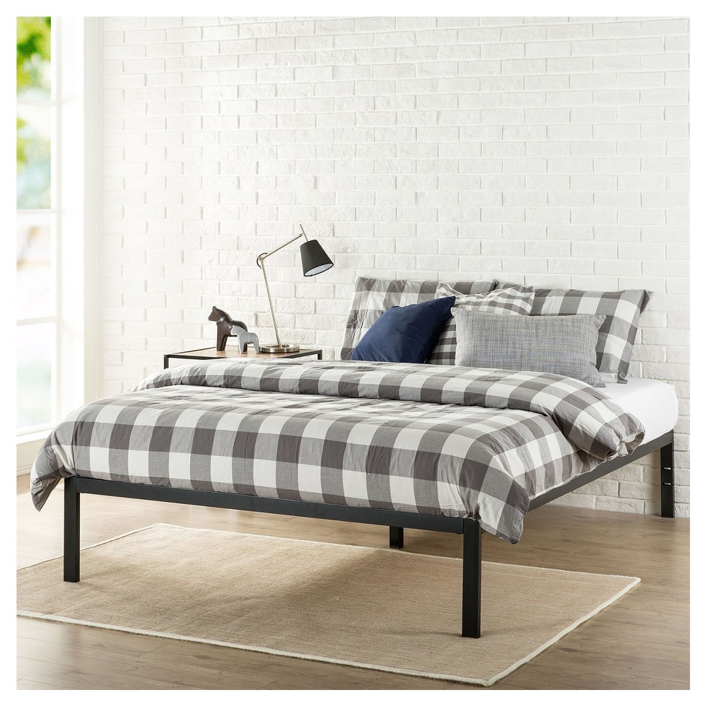 Modern Studio Metal Platform Bed 1500 - King - Black - Zinus