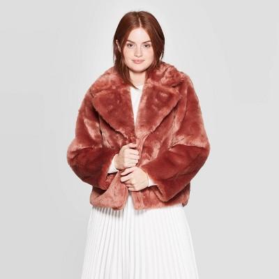 Women's Long Sleeve Faux Fur Jacket - A New Day™ Blush XL