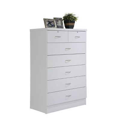 7 Drawer Chest with Lock On 2 Top Drawers White - Hodedah Import
