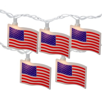 Northlight 10-Count Red and Blue Patriotic American Flag 4th of July Lights, 7.5ft White Wire