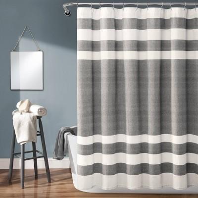 Cape Cod Stripe Yarn Dyed Cotton Shower Curtain Gray/White - Lush Décor