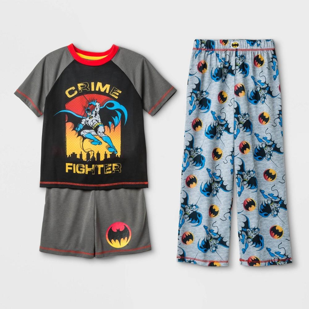 Image of Boys' Batman 3pc Pajama Set - Gray L, Boy's, Size: Large