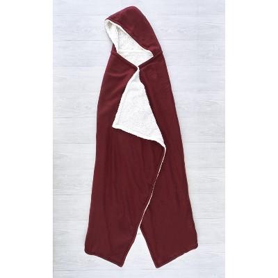 Lakeside Hooded Fleece & Sherpa Lined Wearable Throw Blanket