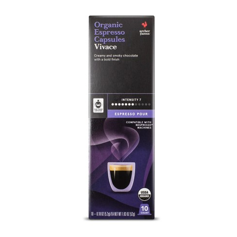 Espresso Pour Organic Dark Roast Espresso Capsules Vivace - Single Serve Espresso Capsules - 10ct - Archer Farms™ - image 1 of 3