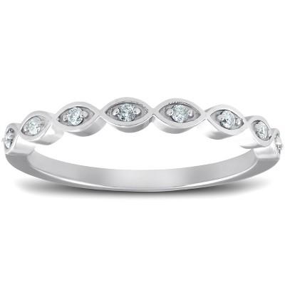 Pompeii3 Diamond Wedding Ring Womens Stackable 10k White Gold Anniversary Band