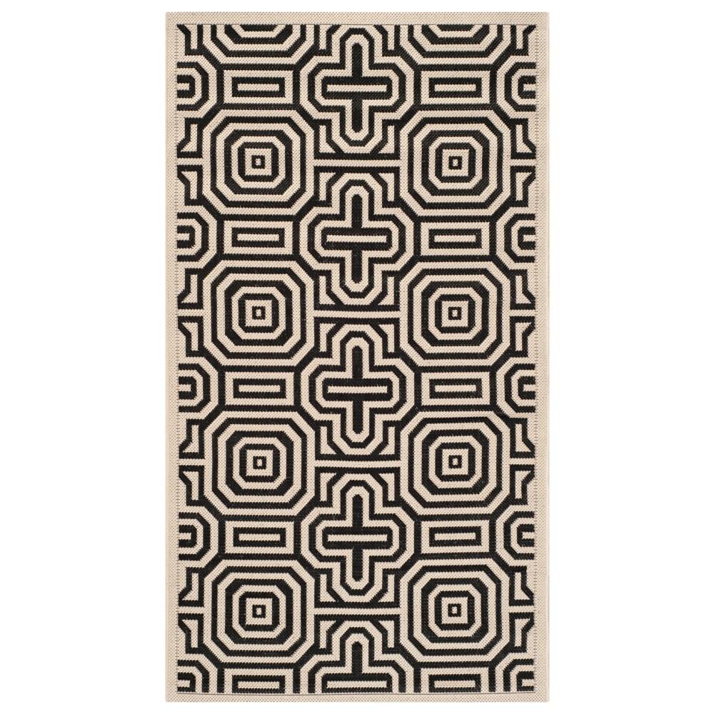 Linz Rectangle 2' X 3'7 Patio Rug - Red / Beige - Safavieh, Brown/Black