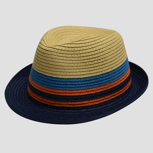 Boys' Color Block Paper Straw Fedora - Cat & Jack™ Natural - image 1 of 2