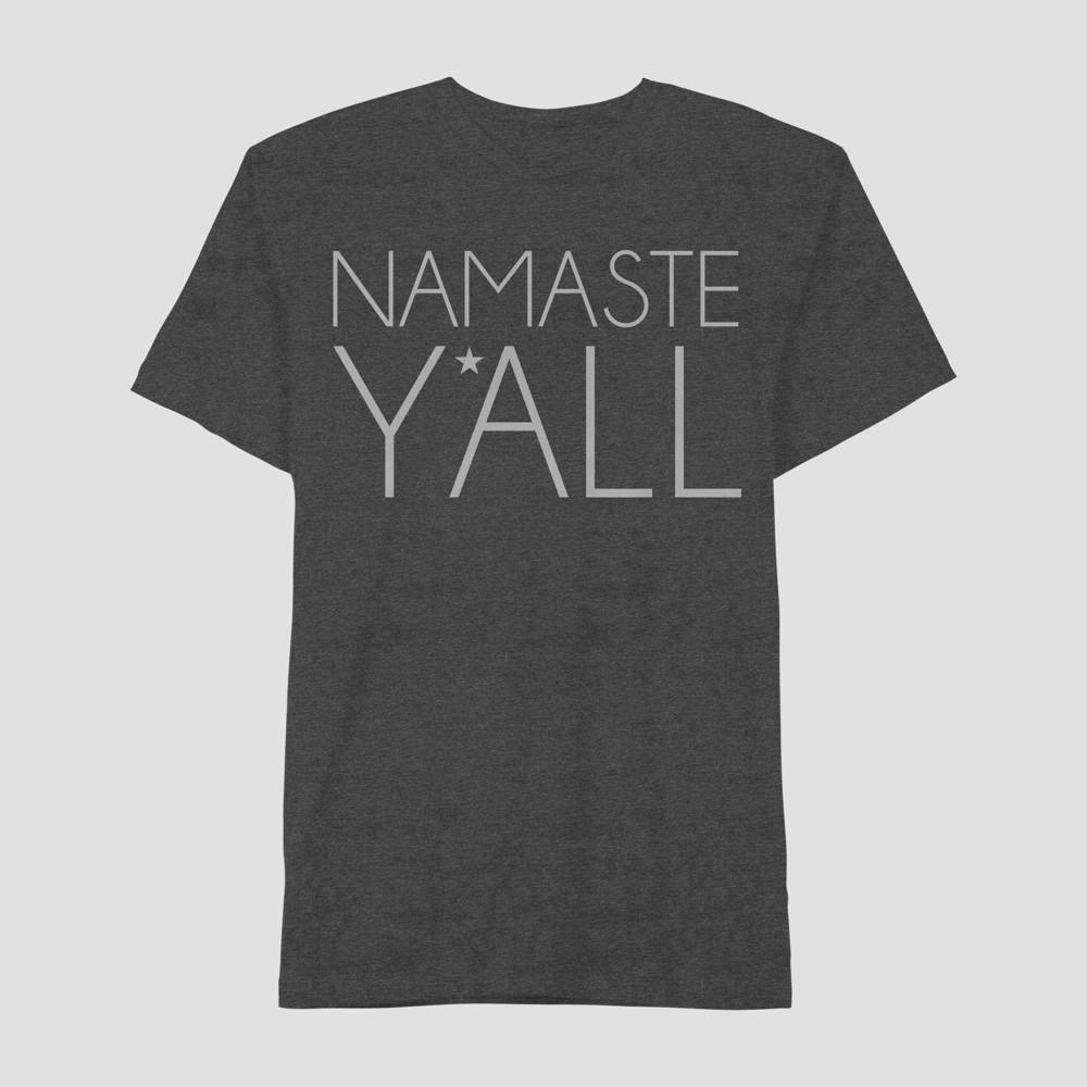 Men's Short Sleeve Namaste Ya'll Graphic T-Shirt - Awake Charcoal L, Gray