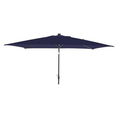 10' x 6' Rectangular Solar Patio Umbrella DuraSeason Fabric™ - Black Pole - Threshold™