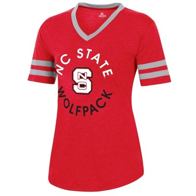 NCAA NC State Wolfpack Women's Short Sleeve V-Neck Heathered T-Shirt