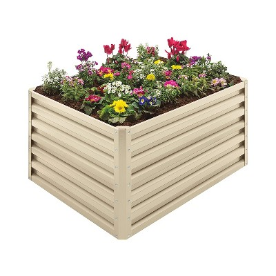 Stratco Raised Steel Metal Outdoor Decor Rectangular Tall Vegetable Garden Herb Bed Planter Box 20 Cubic Feet Capacity, 46 x 35 x 62 Inches, Beige