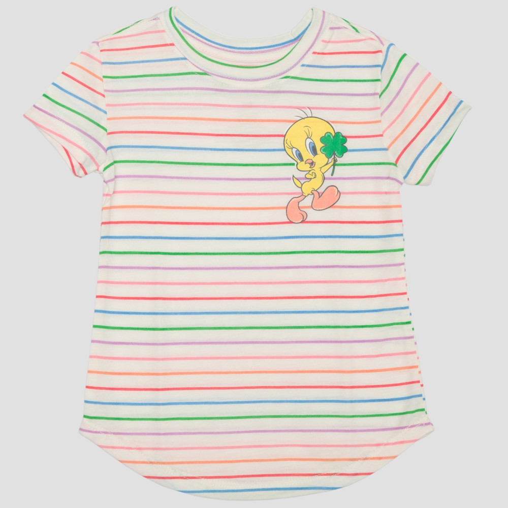 Toddler Girls' Looney Tunes Tweety Short Sleeve T-Shirt - Ivory 5T, White
