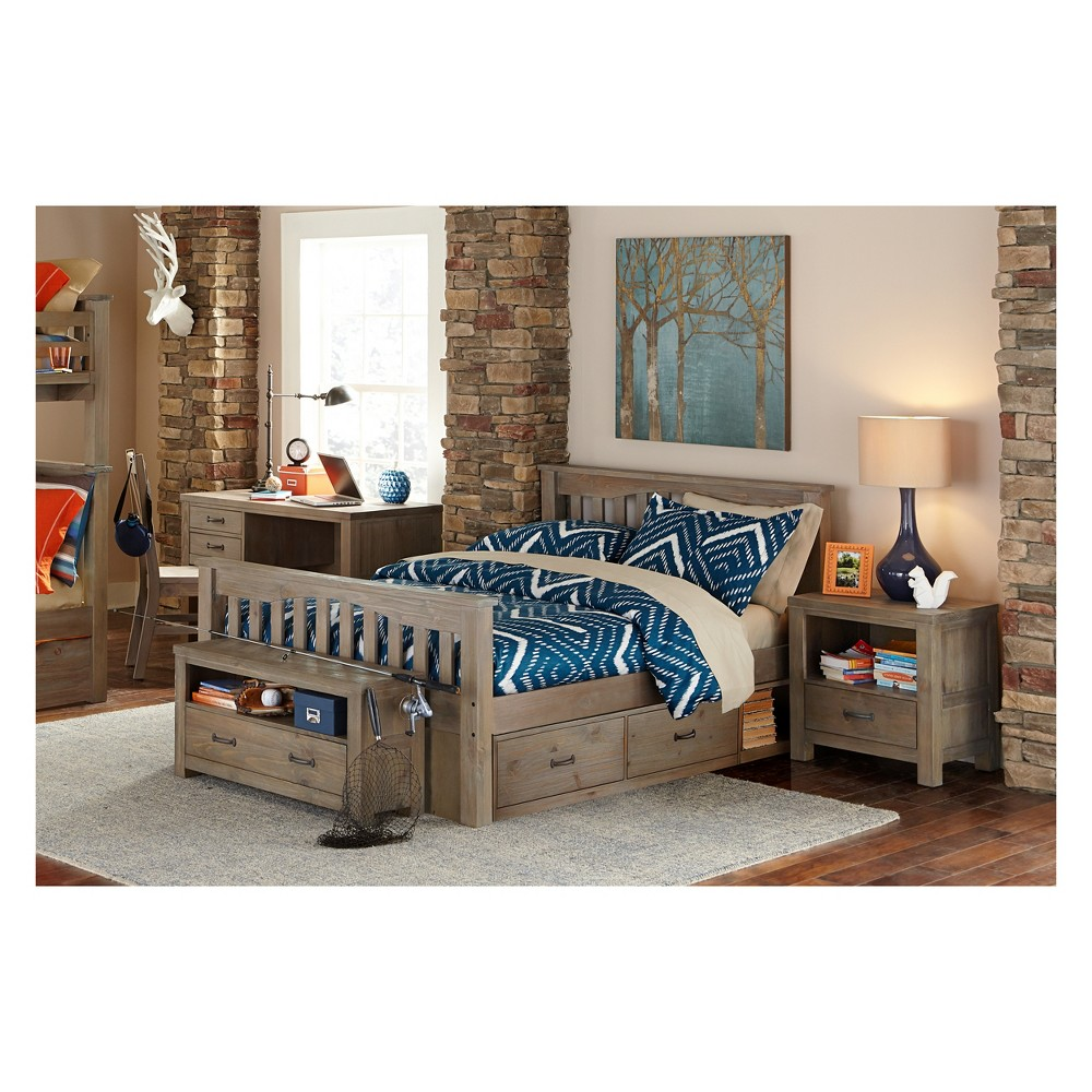 Full Highlands Harper Panel Bed with Storage Driftwood (Brown) - Hillsdale Furniture