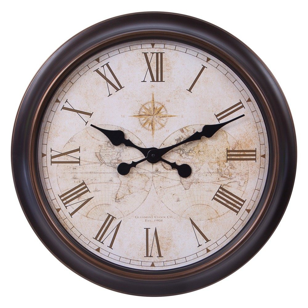 """Image of """"24"""""""" Bronze and Gold Antique World Map Wall Clock Bronze - Patton Wall Decor, Yellow"""""""