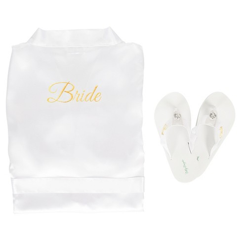 White Satin Bride Robe with Flip Flops with Gold Thread - image 1 of 8