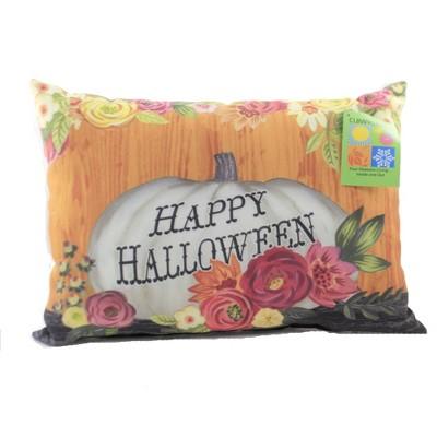 "Halloween 13.0"" Floral Day Of The Dead Pillow Owls Pumpkins  -  Decorative Pillow"