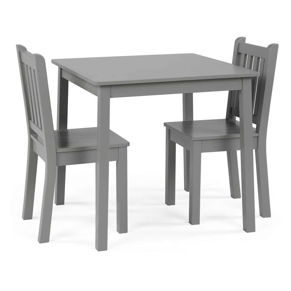 Image of 3pc Kids Table and Chair Set Gray - Tot Tutors