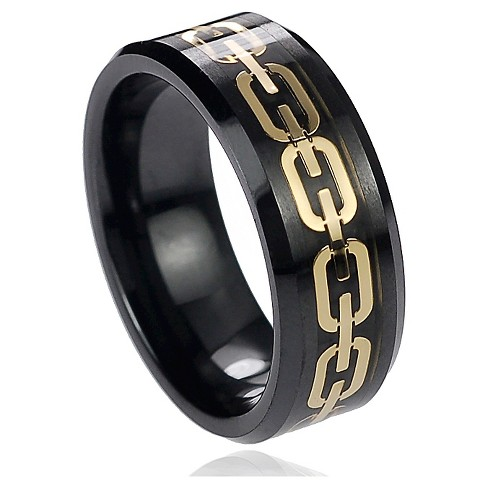 Men's Daxx Chain Inlay Band in Ceramic - Black (8mm) - image 1 of 4