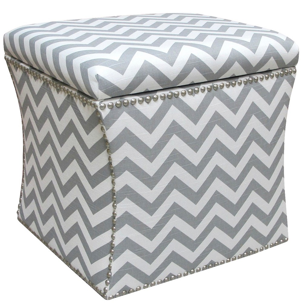 Image of Nail Button Storage Ottoman Zig Zag Ash-white Pewter Nail Buttons - Skyline Furniture
