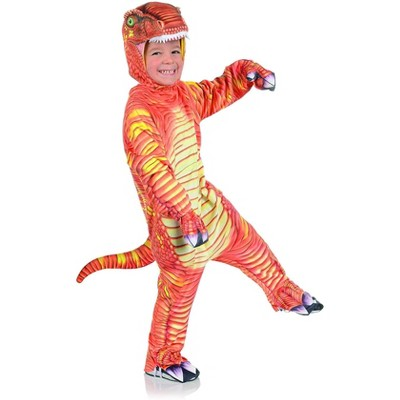 Underwraps Costumes Orange T-Rex Printed Child Costume Jumpsuit