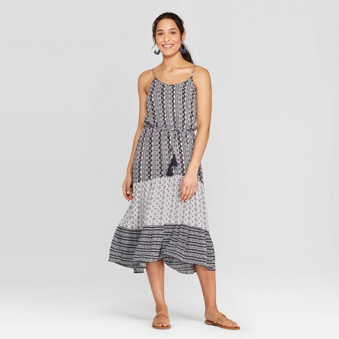 Women's Printed Strappy V-Neck Dress - Knox Rose™ Blue - image 1 of 3