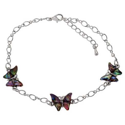 "Journee Collection Base Metal Butterfly Emblem Anklet with Paua Shell - (9"") - image 1 of 2"