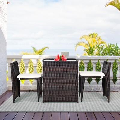 Costway 3PCS Outdoor Patio Rattan Furniture Set Space Saving Garden Deck W/Cushion