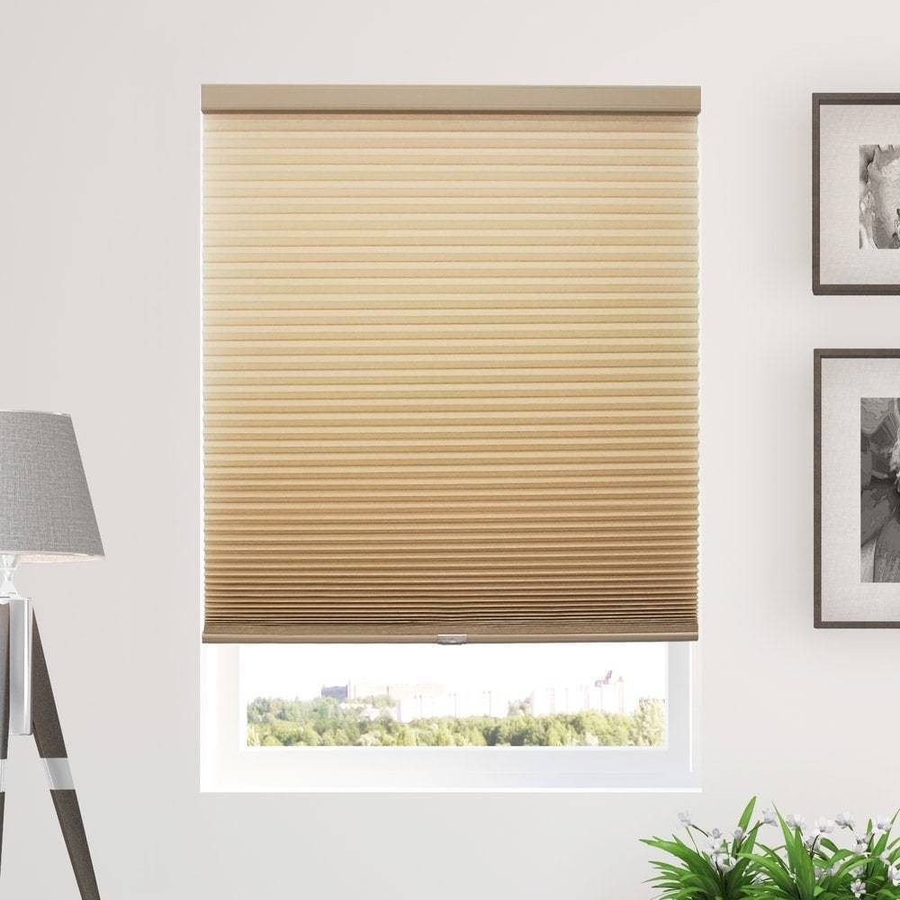 "Image of ""36""""x84"""" Cordless Light Filtering Cellular Window Shade Tan - Chicology"""