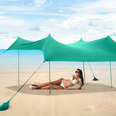 Costway Family Beach Tent Canopy w/ 4 Poles Sandbag Anchors 7'x7' UPF50+ Green