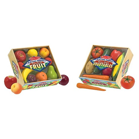 Melissa & Doug Play-Time Produce Fruit (9pc) and Vegetables (7pc) Realistic Play Food - image 1 of 3