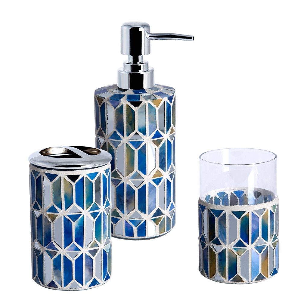 Image of 3pc Hexagon Border Lotion Pump, Toothbrush Holder, Tumbler Blue - Allure