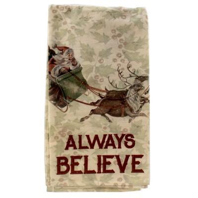 "Tabletop 28.0"" Always Believe Dish Towel 100% Cotton Santa Christmas Primitives By Kathy  -  Kitchen Towel"